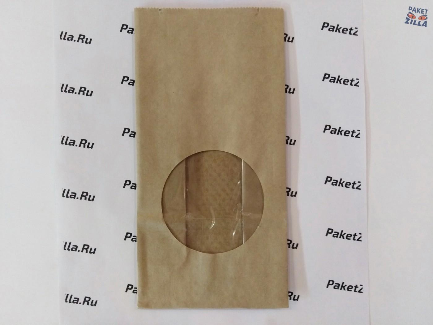 Крафт пакет 200 * 100 * 60 мм с окном. 2-х слойный. 1.