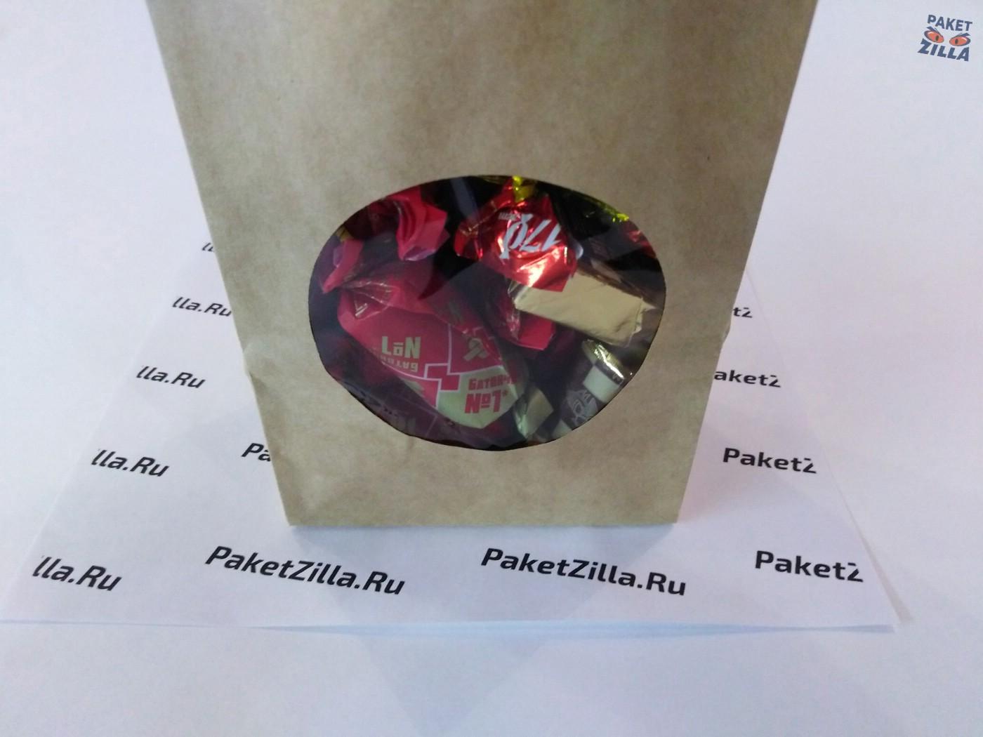 Крафт пакет 200 * 100 * 60 мм с окном. 2-х слойный. 10.