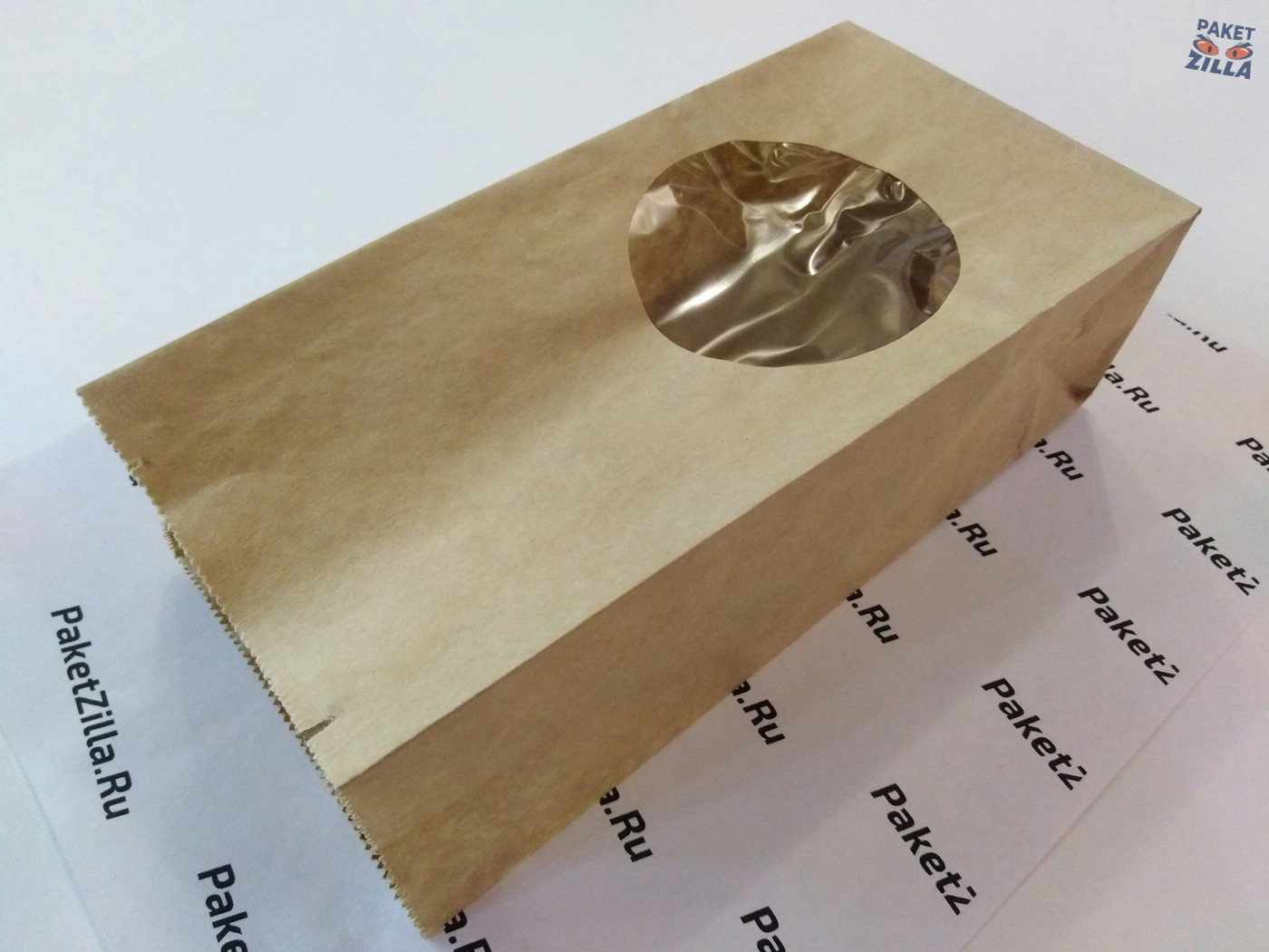 Крафт пакет 200 * 100 * 60 мм с окном. 2-х слойный. 11.