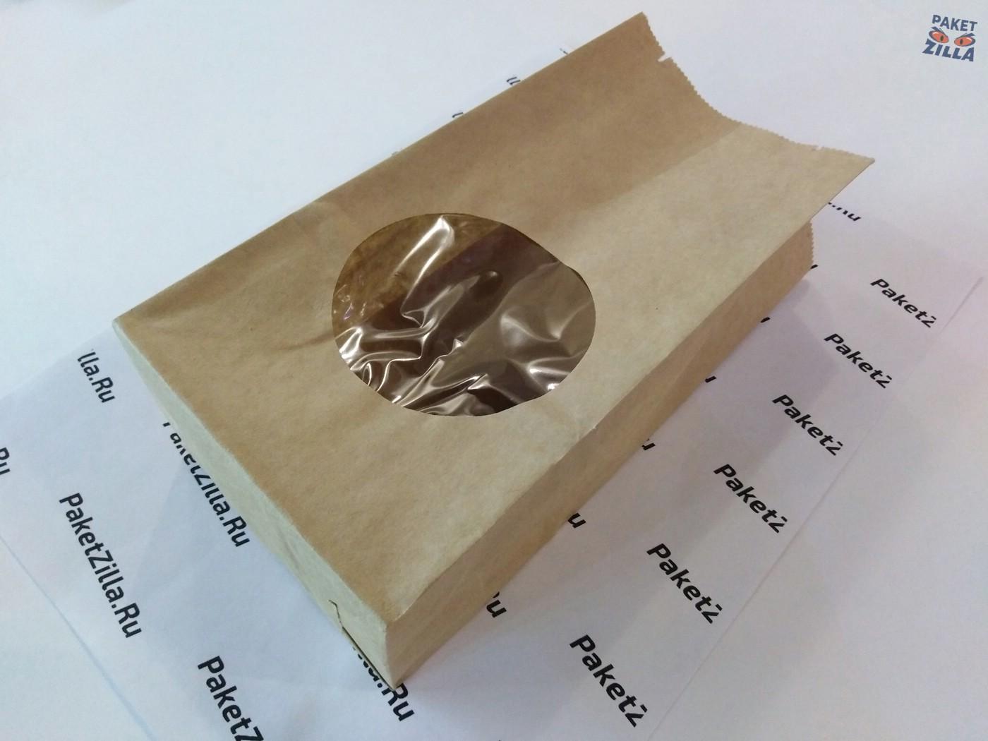 Крафт пакет 200 * 100 * 60 мм с окном. 2-х слойный. 12.