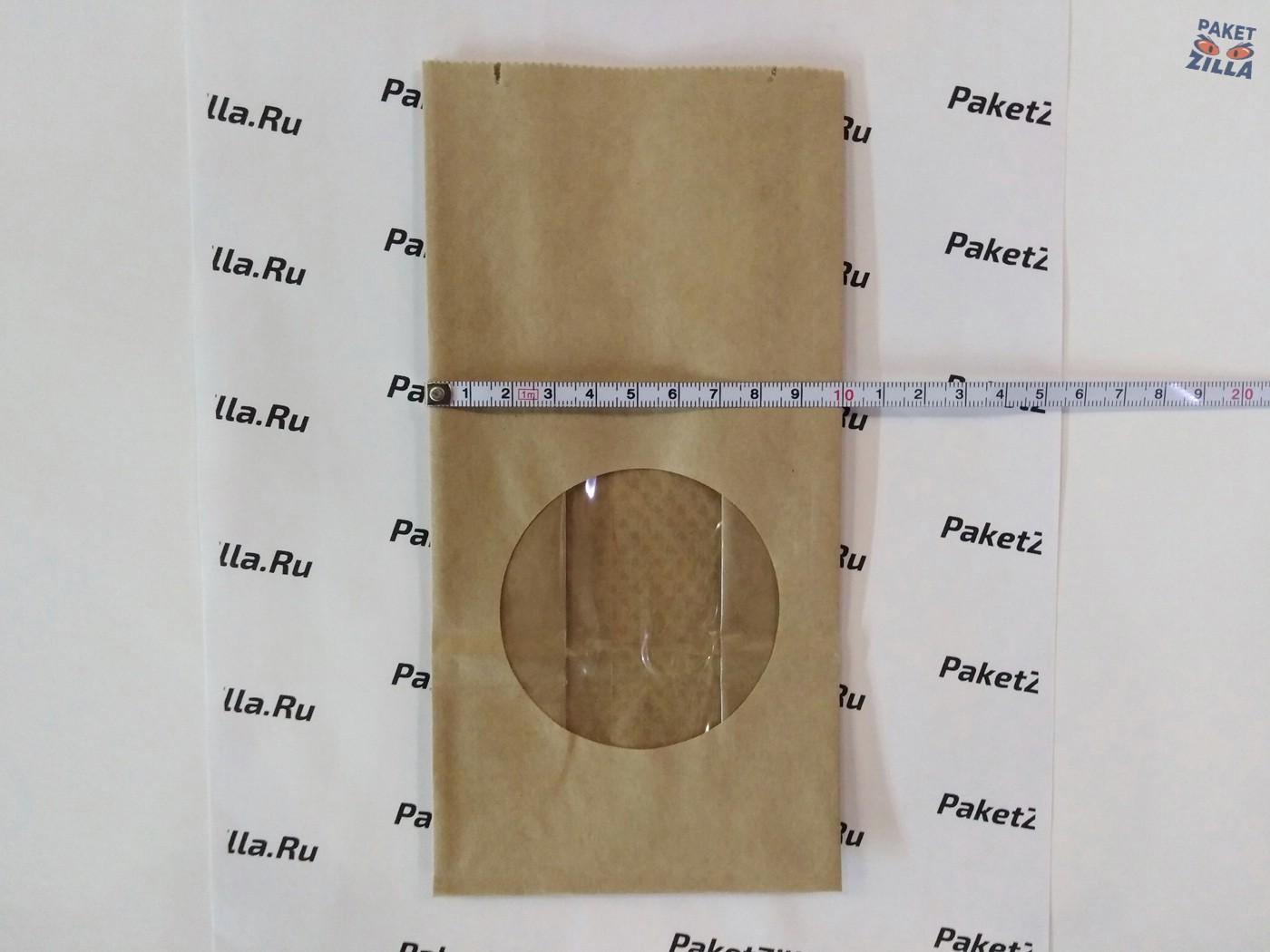 Крафт пакет 200 * 100 * 60 мм с окном. 2-х слойный. 3.