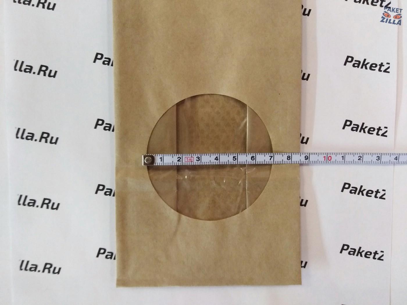 Крафт пакет 200 * 100 * 60 мм с окном. 2-х слойный. 4.