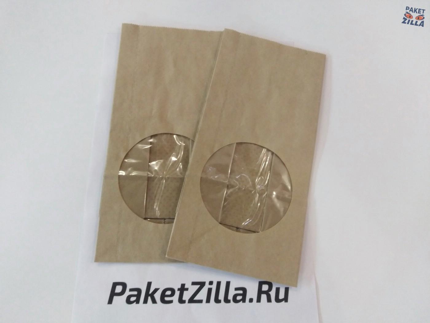 Крафт пакет 250 х 120 х 80 с круглым окном. 2-х слойный. 1.