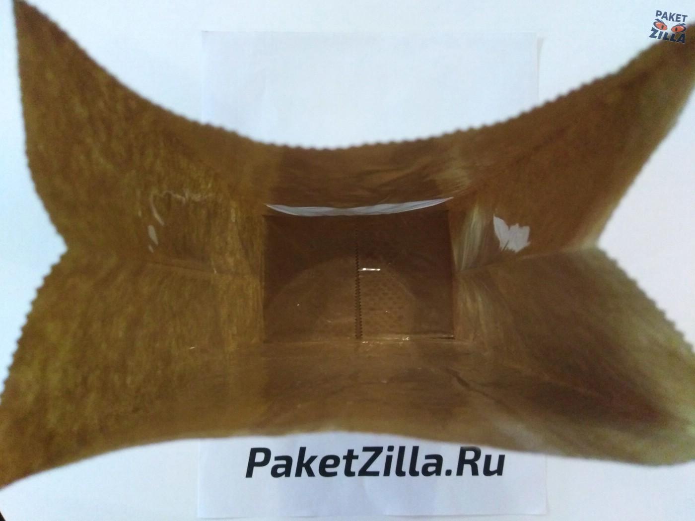 Крафт пакет 250 х 120 х 80 с круглым окном. 2-х слойный. 6.