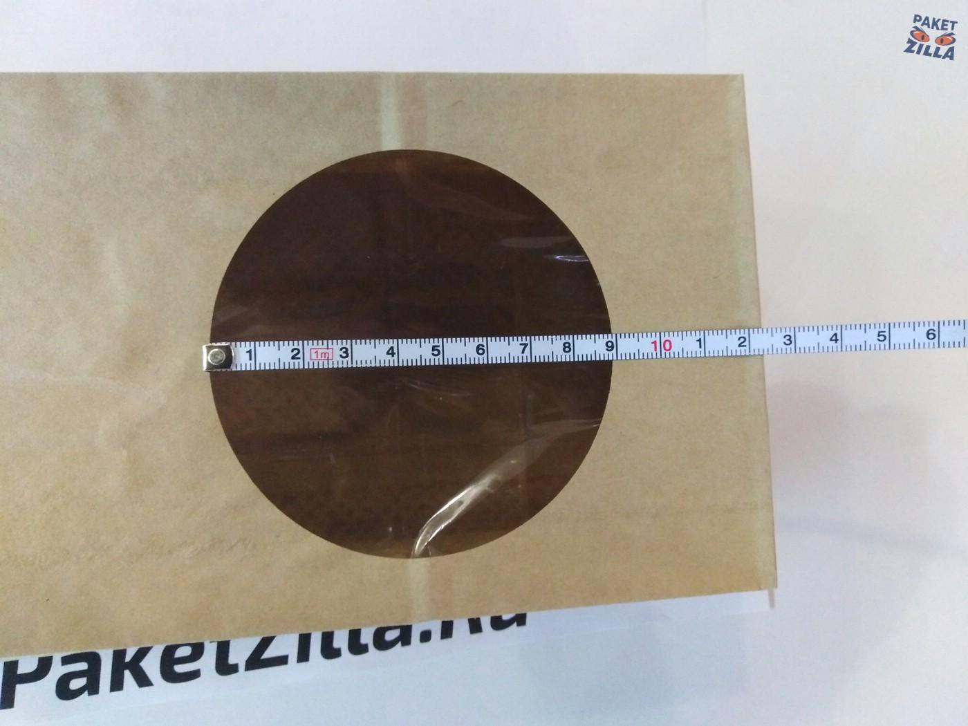 Крафт пакет 250 х 120 х 80 с круглым окном. 2-х слойный. 9.